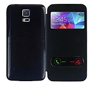 cheap -Case For Samsung Galaxy Samsung Galaxy Case with Windows Flip Ultra-thin Full Body Cases Solid Color PU Leather for S5