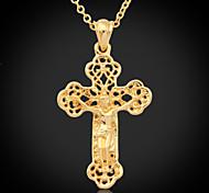 cheap -U7® Crucifix High Quality Jeu Cro Pendant 18K Gold Plated Choker Necklace Hollow Cro Fahion Jewelry