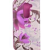 Pour Coque LG Porte Carte / Avec Support / Clapet Coque Coque Intégrale Coque Fleur Dur Cuir PU LG