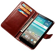 cheap -Case For LG G3 LG LG Case Card Holder Wallet with Stand Flip Full Body Cases Solid Color Hard PU Leather for