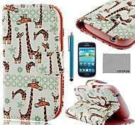 Para Porta-Cartão / Carteira / Com Suporte / Flip / Estampada Capinha Corpo Inteiro Capinha Animal Rígida Couro PU Samsung S3 Mini