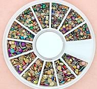 Недорогие -1200pcs смешанный размер 3d раунд разноцветные сплава шпильки колеса украшение искусства ногтя