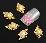 10pcs de ouro pérola losango para pontas dos dedos acessórios nail art decoração