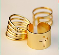 (3PC) Fashion and Personality Streaks Joint Ring Hollow Out Golden Cross Combinations