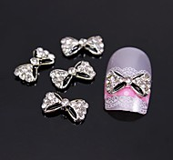 10шт черный галстук-бабочка с горный хрусталь 3d сплава украшения искусства ногтя