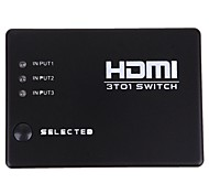 New 3 Ports HDMI Audio Video Switch Switcher 1080p Splitter Amplifier Remote Box