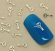 200PCS Charm Key Design Golden Metal Slice Nail Art Decoration