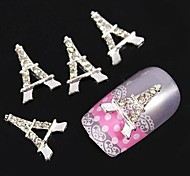 10pcs    Silver Eiffel Tower DIY Rhinestone Accessories Nail Art Decoration
