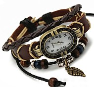 Unisex  European Style Leaf Leather Bracelet Watch Cool Watches Unique Watches Fashion Watch
