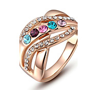 cheap -Women's Colorful Crystal / Gold Plated / Imitation Diamond Statement Ring - Colorful Rose Gold Ring For Wedding / Party / Daily
