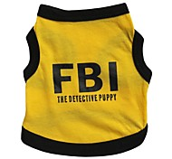 Cat Dog Shirt / T-Shirt Jersey Dog Clothes Breathable Letter & Number Police/Military Black/Yellow Costume For Pets