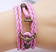 cheap -Men's Leather Anchor Leather Bracelet - Handmade Inspirational Anchor Black Green Pink Bracelet For Christmas Gifts Party Daily