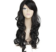 cheap -26 Inch Long Black Big Wave Female Elegant Fashion 180 Degree Hight Temperature Fiber Synthetic Wig