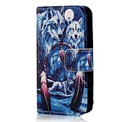 cheap -COCO FUN® Blue Wolf Pattern PU Leather Full Body Case with Screen Protector, Stand and Stylus for iPhone 4/4S