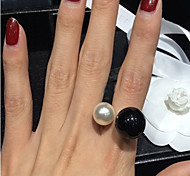 cheap -Women's Pearl Imitation Pearl Resin Black Pearl Alloy Statement Ring - Open Birthstones Adjustable For Wedding Party Daily Casual