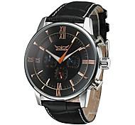 Herren Armbanduhr Mechanische Uhr Automatikaufzug Kalender Leder Band Luxuriös Schwarz Braun Weiß Schwarz