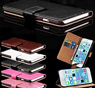 cheap -Case For Apple iPhone 6 iPhone 6 Plus Card Holder with Stand Full Body Cases Solid Color Hard PU Leather for