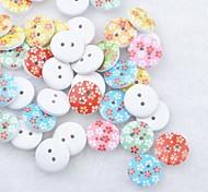Floral Scrapbook Scraft Sewing DIY Wooden Buttons(10 PCS Random Color)