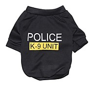 cheap -Cat Dog Shirt / T-Shirt Dog Clothes Letter & Number Police/Military Black Cotton Costume For Pets Men's Women's Fashion