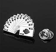 карточный покер лопатой Роял стрит-флеш серебряный черный мужской нагрудным эмблема значок
