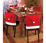 abordables -1pc decoraciones de navidad y fiesta santa red hat silla cubre espalda