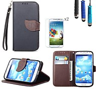 Leaves PU Leather Cover with Card Slot with Touch Pen and Protective Film 2 Pcs for Samsung S4 I9500