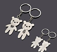 Personalized Engraving  Bear Metal Couple Keychain