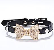 Cat / Dog Collar Rhinestone Red / Black / Blue / Pink / Gold / Silver / Rose PU Leather