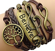 Women's Wrap Bracelet Inspirational Plaited Vintage Costume Jewelry Leather Alloy Love Infinity Tree of Life Jewelry For Daily Casual