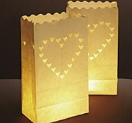 Big Heart Shaped Cut-out Paper Luminary Paper Lamp (Set of 4)
