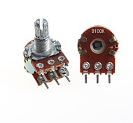duplex potenciômetro duplo união 6 pinos b100k 15 milímetros cabo longo (5pcs)