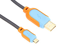 150CM Micro USB Charge Sync Cable for SAM/HTC/NOK/MOT/B.B(Blue-Orange)