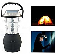 LS040 Outdoor Solar 36LEDS Hand Crank Dynamo Camping Lantern Light Lamp(Black)
