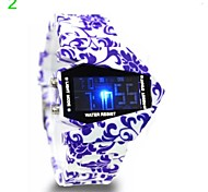 Women's Graffiti Pattern Dial Silicone Strap Color Aircraft LED Display Wrist Watch (Assorted Colors) Cool Watches Unique Watches