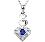 Недорогие -Женский Ожерелья-бархатки Ожерелья с подвесками Заявление ожерелья Кулоны Синтетические драгоценные камни Стерлинговое серебро Циркон