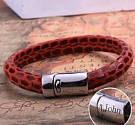 Недорогие -персональный подарок кожа канат браслет из нержавеющей стали выгравировано ювелирных изделий