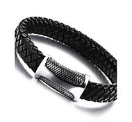 Недорогие -Муж. Кожаные браслеты / Магнитные браслеты - Нержавеющая сталь, Кожа Панк Браслеты Черный Назначение Повседневные