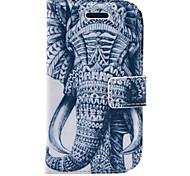 Para Carteira / Porta-Cartão / Com Suporte / Flip / Estampada Capinha Corpo Inteiro Capinha Elefante Rígida Couro PU Samsung S3 Mini