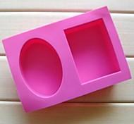 preiswerte -2-Loch Ellipse quadratische Form Kuchen Schokoladenformen, Silikon 18 × 12,2 × 3,8 cm (7,1 × 4,8 × 1,5 Zoll)