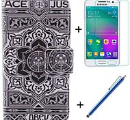 Large Black Flower Pattern PU Leather Full Body Case with Film and Capacitance Pen for Samsung Galaxy A3/A3000