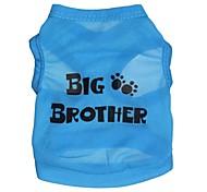Gatos / Perros Camiseta Azul Ropa para Perro Primavera/Otoño Letra y Número