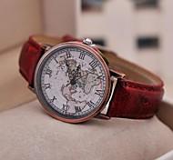 baratos -Mulheres Relógio de Moda Quartzo Relógio Casual PU Banda Vintage Padrão Mapa do Mundo Preta Vermelho Marrom