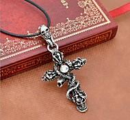 Недорогие -Муж. Ожерелья с подвесками Заявление ожерелья Кожа Титановая сталь Крестообразной формы В форме черепа Змея Заявление ювелирные изделия