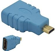 Недорогие -HDMI Женский к Micro HDMI мужчин переходник-синий