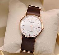 preiswerte -Geneva Herrn Quartz Armbanduhr Armbanduhren für den Alltag Leder Band Minimalistisch Schwarz Orange Braun