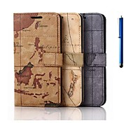 5.1 Inch Maps Pattern PU Wallet Leather Case with Pen for Samsung GALAXY S6
