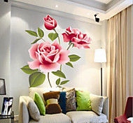 Недорогие -Китайский стиль яркий цветок ПВХ стикер стены