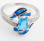 High Quality Fashion Platinum Blue Opal Water Ring