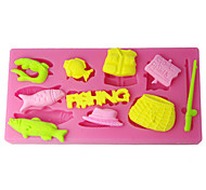 Silicone Mold Fishing Tools Cake Design Moulds