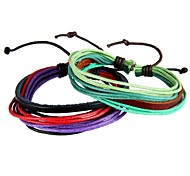 Simple Recreational Multi-Strand Braided Leather Bracelet Colored Wax Rope